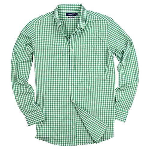 Down Button Green Plaid Shirt (Men's Stretch Fit Gingham Plaid Button Down Long Sleeve Shirt (Green/White, Slim Fit: XX-Large))