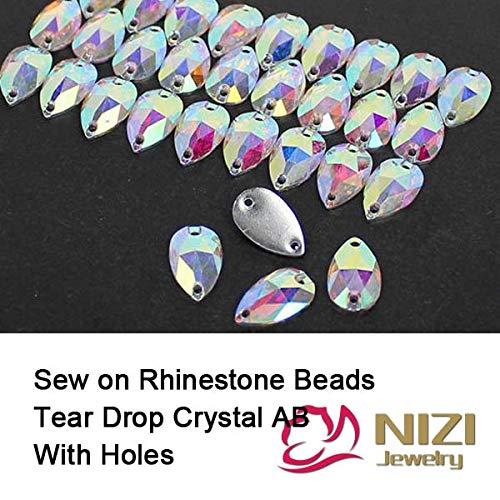 (Kamas Flatback Beads 7x12mm 10x18mm 13x22mm 17x28mm Crystal AB Tear Drop DIY Beads Garment Accessory Resin Sew On Crystal Beads - (Color: 17x28mm Beads) )