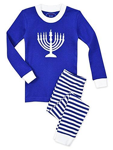Sara's Prints Big Kids Unisex All Cotton Long John Pajamas, Menorah-Sbwm, (Snug Fitting)