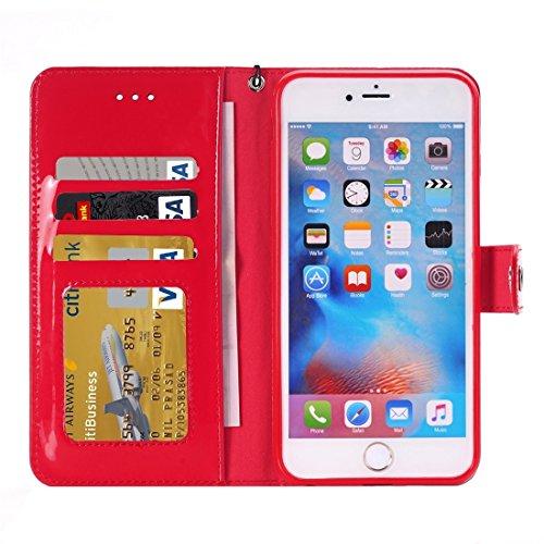 Protege tu iPhone, Para el iPhone 6 más la caja horizontal del tirón TPU + PU con el sostenedor y CardSlots y la carpeta Para el teléfono celular de Iphone. ( Color : Oro ) Rojo