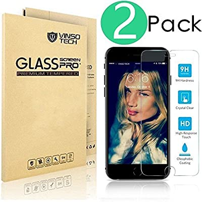 (2 Pack) iPhone 6 Screen Protector, Vinso Tech [3D Touch Compatible] Ultra Thin Glass Screen Protector Works with iPhone 6 6S and Most Protective Cases