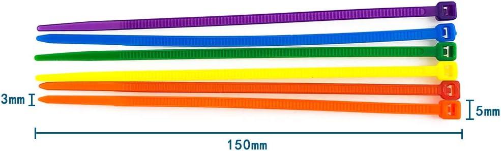 600 Pezzi Fascette per Cablaggio Fermacavo Fascette Stringicavo Colorate Elettricista Nylon Cavi Stringicavo 3 150mm