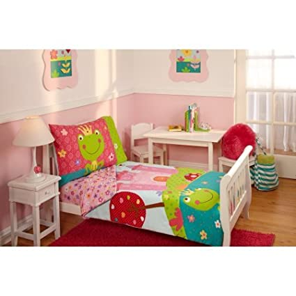 Perfect TL 4 Piece Kids Girls Pink White Fairy Tale Toddler Bed Set, Green Teal  Fairytale
