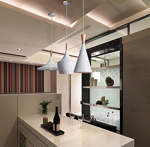 BOKT 60W Single Head Ceiling Pendant Light fixtures Minimalist White Aluminum Hanging Chandelier Lighting for Kitchen Living Room Bedroom Home Decor (Style A) by BOKT (Image #3)