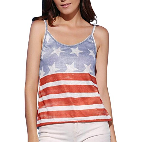 kaifongfu Women's Vest Top,Ladies Top American Flag Print Camic T Shirt Sleeveless Blouse Tee Tank Vest for Independence Day (M, Red) from kaifongfu