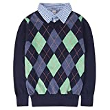 #9: Benito & Benita Boys Sweaters V-Neck Faux Layered Uniform Sweater Long Sleeve Pullover With Argyle Patterns For 4-12Y