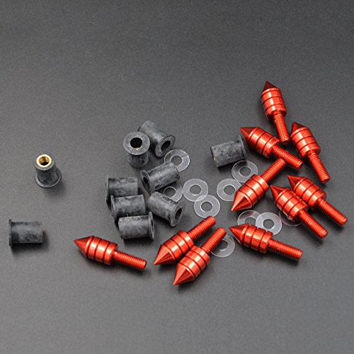 ZXMOTO Motorcycle Red Wellnut Bolt Kit - Windscreen Fairing Spike Kits for Yamaha Kawasaki Honda Suzuki Ducati Triumph Daytona All Models and Years