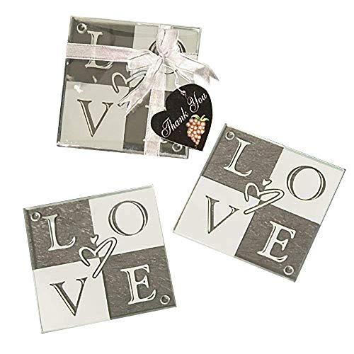 44 Sets of 2 Love Glass Coasters Wedding Favors
