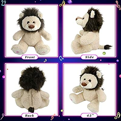 Glow Guards 10'' Musical Light up Stuffed Lion Wildlife Animals Soft Plush Toy with LED Night Lights Lullabies Glow in Darkness Singing Birthday for Toddler Kids: Toys & Games
