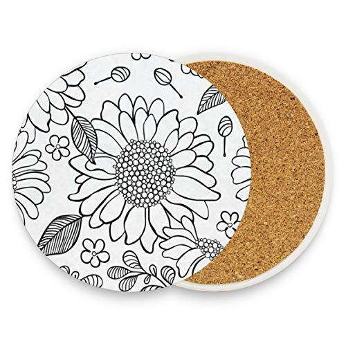 LoveBea Black and White Sunflower Coasters, Prevent Furniture from Dirty and Scratched, Round Wood Coasters Set Suitable for Kinds of Mugs and Cups, Living Room Decorations Gift 1 Piece