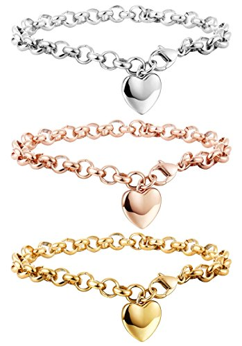 Heart Charm Bracelet Jewelry - Besteel 3 PCS Stainless Steel Chain Link Bracelets for Women with Finish Heart Charm Bracelet Jewelry Set