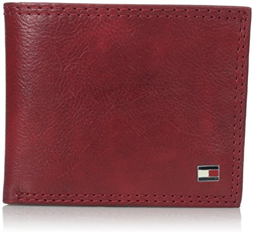 Tommy Hilfiger Men's Leather Jerome Double Billfold Walllet, Oxblood, One (Red Mens Wallet)