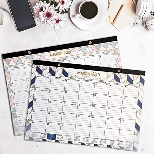 2020 Desk Calendar - Desk/Wall Calendar 2020 with Transparent Protector, Marble, 17