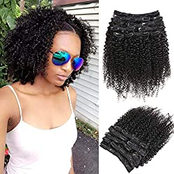 """Urbeauty 16"""" African American Afro Kinky Curly Clip in Human Hair Extensions 4B/4C Textured Clip ins Curly Weave Hair Extensions for Black Women (#1B Natural Black,10Pcs/100g)"""