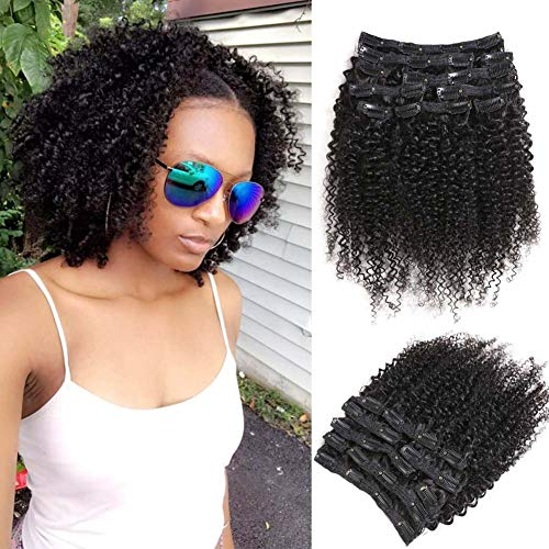 Urbeauty 9A Curly Clip ins for Black Women 16'' Kinkys Curly Clip in Hair Extensions Human Hair 3B/ 3C 10 Pieces 100g Full Head Brazilian Hair