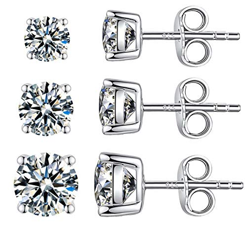 Silver Sterling Ear Studs (Sterling Silver Studs Earrings, 4-6 Pairs, Round Clear Cubic Zirconia Stud Earrings for Sensitive Ears priercing (3/4/5mm, Pack of 3))