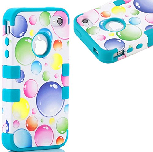 myLife Deep Sky Blue and White - Bubble Party Series (Neo Hypergrip Flex Gel) 3 Piece Case for iPhone 5/5S (5G) 5th Generation Smartphone by Apple (External 2 Piece Fitted On Hard Rubberized Plates + Internal Soft Silicone Easy Grip Bumper Gel)