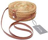 Handwoven Round Rattan Bag Shoulder Leather Straps Natural Chic Hand Gyryp