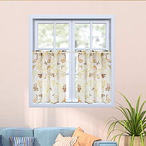 Top Finel Kitchen Sheer Tier Curtains 24 Inch Length Printed Butterfly Small Window Curtains for Basement Bathroom, 2 Panels