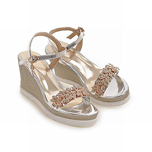 Rhinestone Buckle Sexy Open Sandals Silver Womens Charm Wedges Toe Foot X0CqnwU
