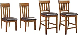 Signature Design by Ashley Ralene Dining Room Chair, Medium Brown & Ralene Counter Height Bar Stool, Medium Brown