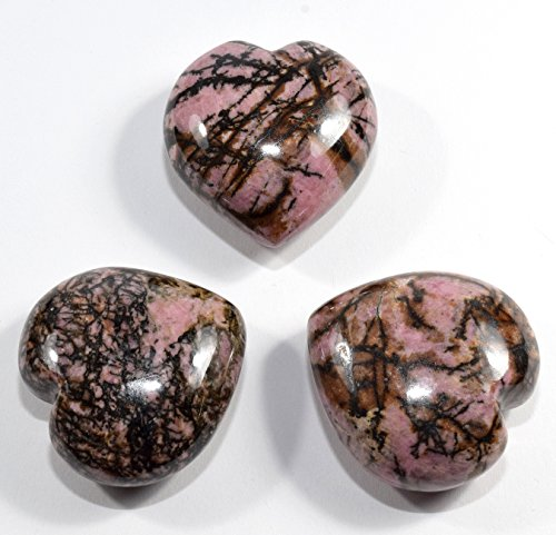 45mm Rhodonite Puffy Heart Pink Natural Polished Palm Crystal Mineral Love Stone Heart - China (1PC) by HQRP-Crystal