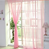 dark grey curtains next Mysky 1 PCS Pure Color Tulle Door Window Curtain Drape Panel Sheer Scarf Valances (Pink)
