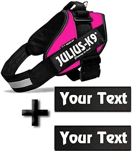 Poitrail : 58-76cm Canicaprice Harnais Julius K9 Power IDC Rose 2 /étiquettes /à Personnaliser T0