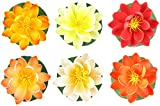 Small Floating Foam Water Lilies, Assorted Warm Colors, A Set of 6, For Small Water Feature, 3.25'' x 3.25'' x 2'' (each)