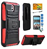htc 1 - HTC Desire 526 (Verizon), LF 4 in 1 Bundle, Hybrid Armor Stand Case with Holster and Locking Belt Clip, Stylus Pen, Tempered Glass Screen Protector & Wiper Accessory (Holster Red)
