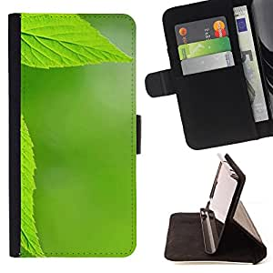 DEVIL CASE - FOR Samsung Galaxy S4 IV I9500 - Texture Green Leaf - Style PU Leather Case Wallet Flip Stand Flap Closure Cover