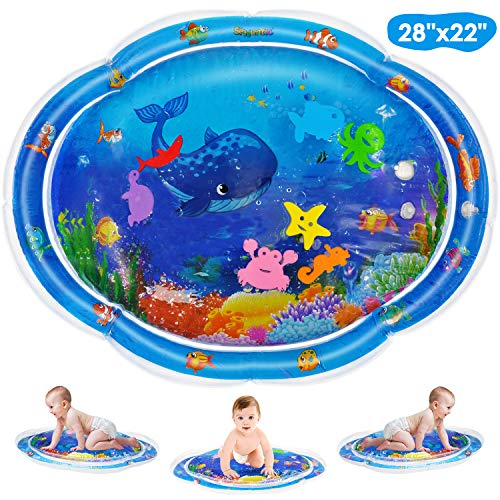 Seeyentic Tummy Time Baby Water Mat, Newest Inflatable Baby Activity Play Mat for 3 6 9 Months Newborn Fun Time, Sensory Toys for Your Baby's Stimulation Growth, BPA Free 28x22 inch