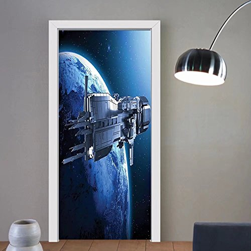 Niasjnfu Chen custom made 3d door stickers War Home Decor Spaceship with Planet Earth Stars Scenery Cosmos Travel Space Man Image Blue Black For Room Decor 30x79 by Niasjnfu Chen