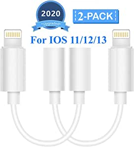 Lighting to 3.5 mm Headphone Adapter Earphone Earbuds Adapter Jack 2 Pack,Quick Linking,Compatible with Apple iPhone 11 Pro Max X/XS/Max/XR 7/8/8 Plus Plug and Play Screen Protector Foils