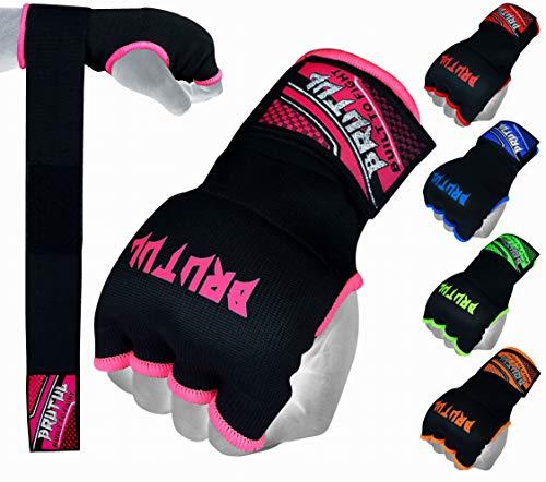 Brutul Padded Inner Gel Gloves Training Gel Elastic Hand Wraps for Boxing Gloves Quick Wraps Men & Women Kickboxing Muay Thai MMA Bandages Wrist Wrap Protector Handwraps (Pair) (Pink, M)