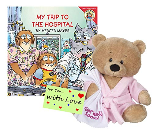 Ganz Get Well Soon Teddy Bear with a Pink Robe, Blankie for Girls with My Trip to The Hospital Book Gift Set Promoting Speedy Recovery and Comfort from Ganz