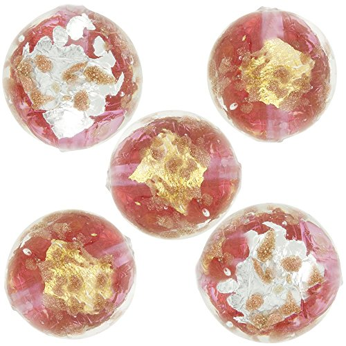 Murano Glass Bead, Rubino Pink, Round 8mm with Gold, Silver and Aventurina, 5 (Silver Foil Round Glass Beads)