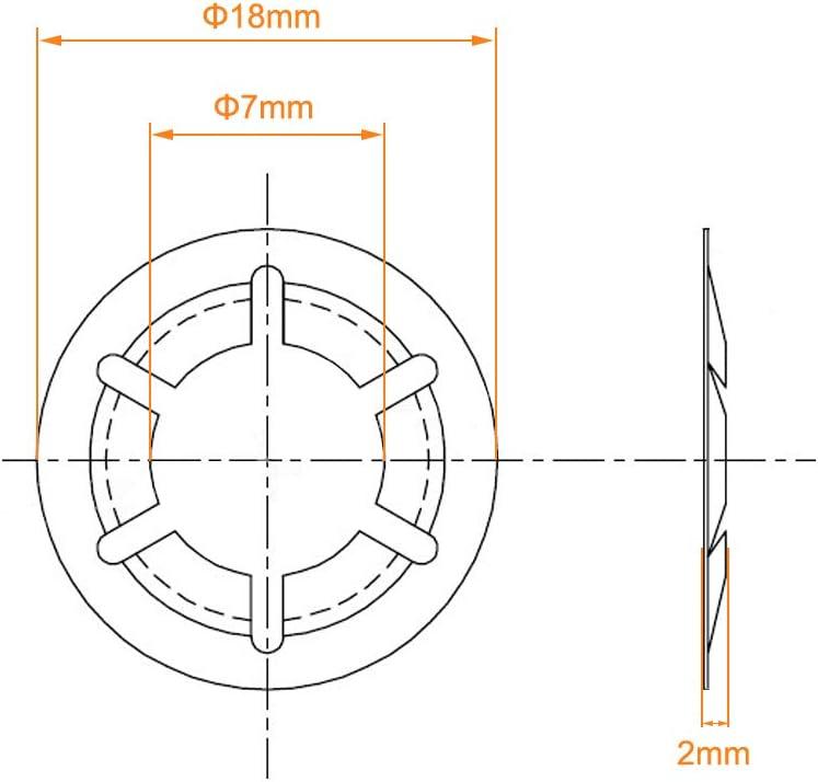 7 mm 18 mm Au/ßendurchmesser Innenzahn 65 Mn 60 St/ück schwarzes Oxid-Finish Sicherungsringe zum Aufstecken Sourcing Map M8 Starlock-Unterlegscheibe