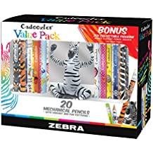 Zebra Cadoozles Mechanical Pencil Set With Bonus Zen Figurine, 0.7mm and 0.9mm Point Size, Standard HB Lead, Assorted Barrel Patterns, 20-Count