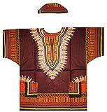 Men's Traditional African Dashiki Shirt & Matching Cap Set (Brown/Orange/Yellow) OS