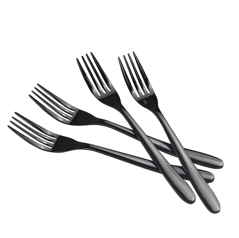 Vababa 16-Piece Black Dinner Forks, Stainless Steel