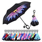 Monstleo Inverted Umbrella Double Layer Cars Reversible Umbrella,Windproof UV Protection Big Straight Umbrella for Car Rain Outdoor with C-Shaped Handle and Carrying Bag