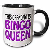 3dRose (mug_149773_4) This grandma is bingo queen, Purple, - Two Tone Black Mug, 11oz