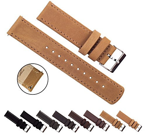 BARTON Quick Release Top Grain Leather - Choice of Colors & Widths (18mm, 20mm or 22mm) - Gingerbread(Light Brown) 22mm Watch Band