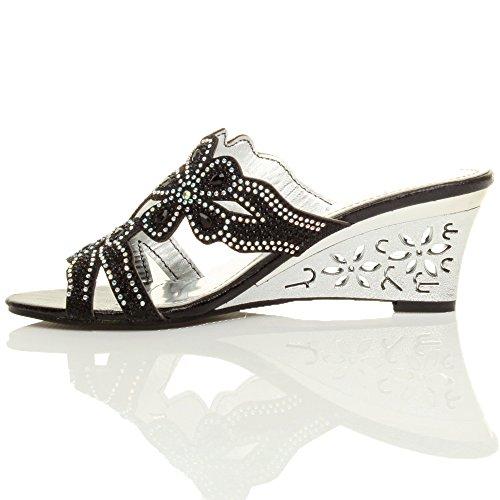 Heel Wedge Size Women Mid Black Rhinestone Sandals Ajvani qtxEHYwSw
