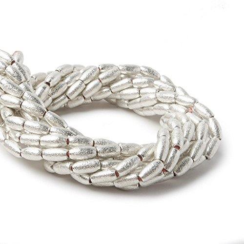 Bead Brushed Silver - 6x3mm Sterling Silver plated Copper Brushed Rice Beads 8 inch 34 pcs