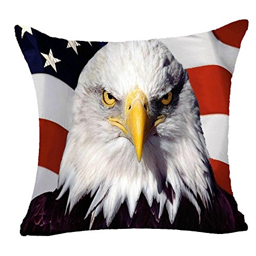 Retro Vintage American Flag Star Stripe American Symbol Of Animals Fiercely Bald Eagle Cotton Linen Throw Pillow Case Personalized Cushion Cover NEW Home Office Decorative Square 18 X 18 Inches