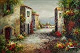 100% Hand Painted Tuscany Italy Landscape Canvas Oil Painting for Home Wall Art by Well Known Artist, Framed, Ready to Hang