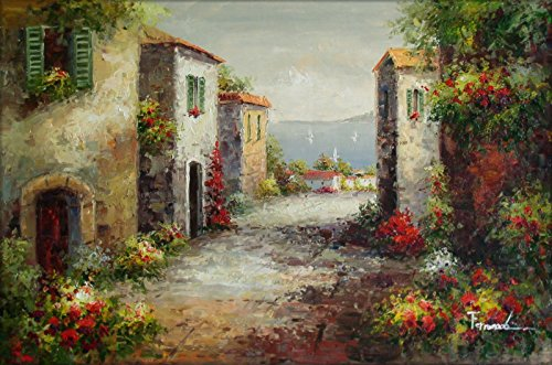 100% Hand Painted Tuscany Italy Landscape Canvas Oil Painting for Home Wall Art by Well Known Artist, Framed, Ready to Hang (Oil Tuscany Painting)