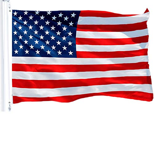 G128 - American USA US Flag Stars Stripes 3x5 Ft Printed Polyester Brass Grommets 150D Quality Polyester American Flag Indoor/Outdoor - Much Thicker More Durable Than 100D 75D Polyester
